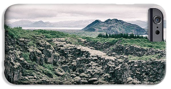 Subtle Colors iPhone Cases - Landscape in Iceland - lava field and lake iPhone Case by Matthias Hauser