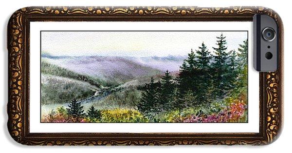 Digital Watercolor Paintings iPhone Cases - Landscape In Vintage Frame iPhone Case by Irina Sztukowski