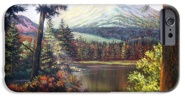 Willow Lake Paintings iPhone Cases - Landscape-lake and trees iPhone Case by Loxi Sibley