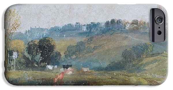 Spire iPhone Cases - Landscape Near Petworth, C.1828 Gouache iPhone Case by Joseph Mallord William Turner