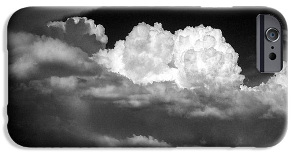 Approaching Storm iPhone Cases - Landscape of Dramatic Cloud and Lone White Barn  iPhone Case by Donald  Erickson