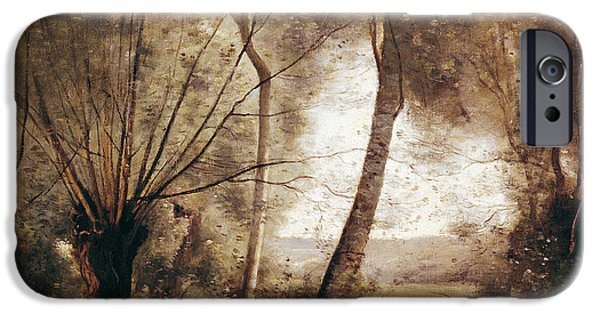Enfants iPhone Cases - Landscape Oil On Canvas iPhone Case by Jean Baptiste Camille Corot