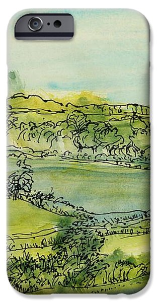 Rural iPhone Cases - Landscape Pen & Ink With Wc On Paper iPhone Case by Brenda Brin Booker