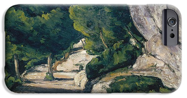 Landscape With Figure iPhone Cases - Landscape. Road with Trees in Rocky Mountains iPhone Case by Paul Cezanne