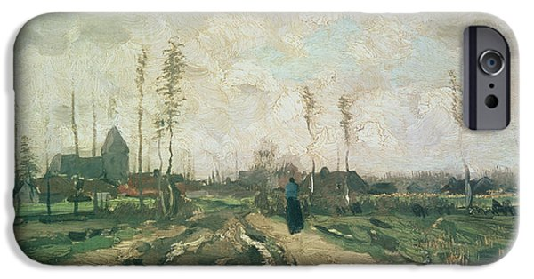 Exploring Paintings iPhone Cases - Landscape with a Church and Houses iPhone Case by Vincent van Gogh