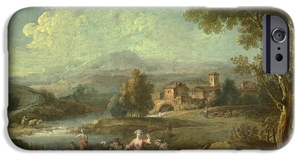 Landscape With Figure iPhone Cases - Landscape with a Group of Figures Fishing iPhone Case by Giuseppe Zais