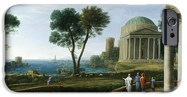Delos iPhone Cases - Landscape with Aeneas at Delos iPhone Case by Claude Lorrain