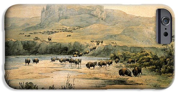 Landscape With Mountains iPhone Cases - Landscape With Buffalo ont the Upper Missouri iPhone Case by Karl Bodmer
