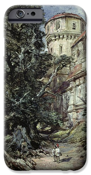 Green Foliage iPhone Cases - Landscape with Castle and Trees iPhone Case by George Cattermole