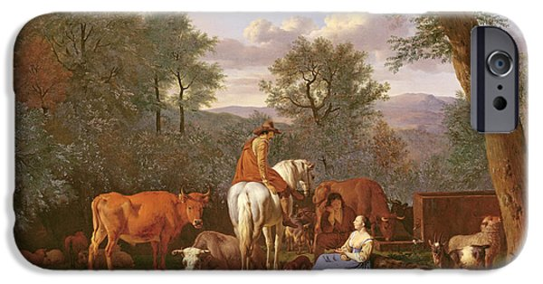 Holy Cow iPhone Cases - Landscape With Cattle And Figures iPhone Case by Adriaen van de Velde