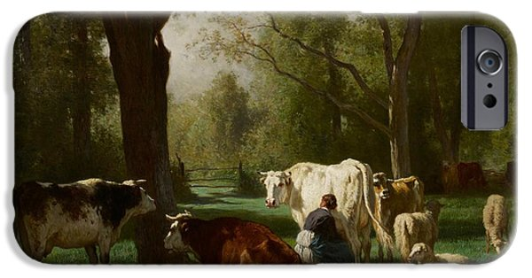 Agricultural Paintings iPhone Cases - Landscape with Cattle and Sheep iPhone Case by Constant Emile Troyon