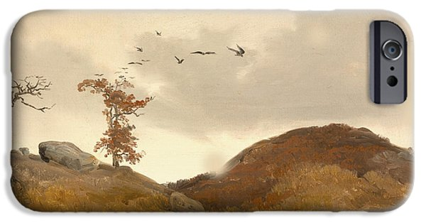 Autumn Scenes iPhone Cases - Landscape With Crows iPhone Case by Karl Friedrich Lessing