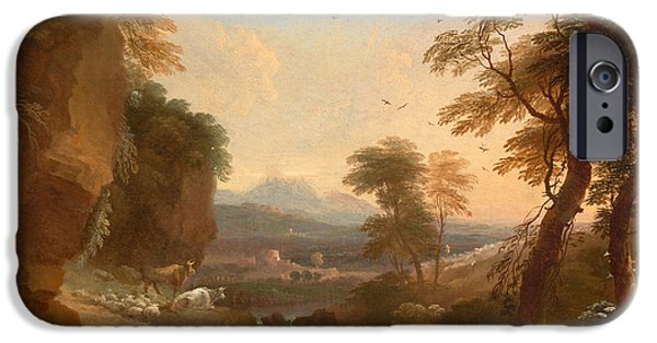 Landscape With Mountains iPhone Cases - Landscape with Distant Mountains iPhone Case by Adriaen van Diest