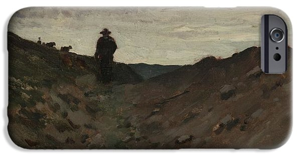 Figure iPhone Cases - Landscape With Figure iPhone Case by Jean Baptiste Camille Corot