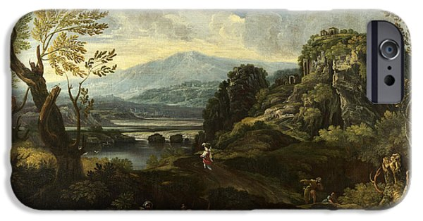 Landscape With Figure iPhone Cases - Landscape with Figures iPhone Case by Crescenzio Onofri