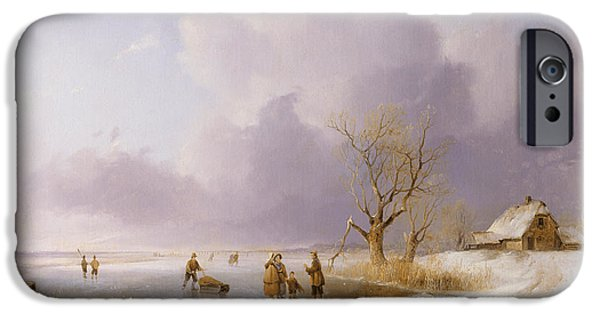 Exploring Paintings iPhone Cases - Landscape with frozen canal iPhone Case by Remigius van Haanen