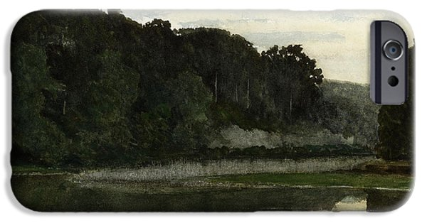 Heron Paintings iPhone Cases - Landscape with Heron iPhone Case by William Frederick Yeames