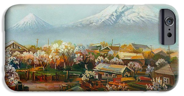 Landscape With Mountains iPhone Cases - Landscape with mountain Ararat from the village Aintap iPhone Case by Meruzhan Khachatryan