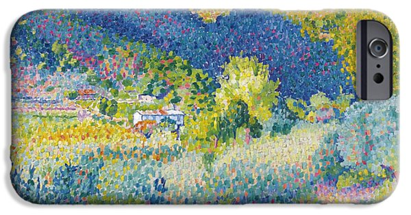 Landscape With Mountains iPhone Cases - Landscape with Mountain Range iPhone Case by Henri-Edmond Cross