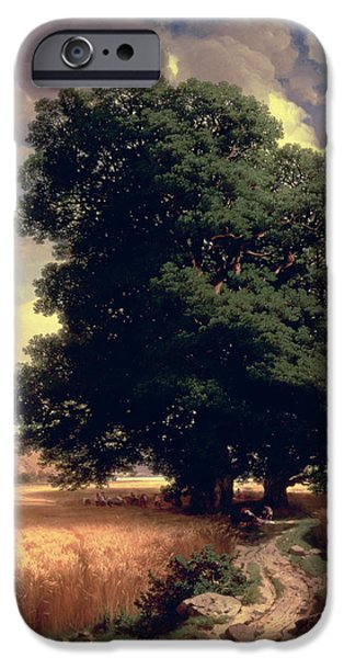 Pathway iPhone Cases - Landscape with Oaks iPhone Case by Alexandre Calame