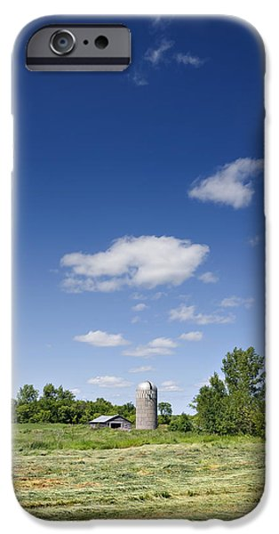 Old Barns iPhone Cases - Landscape With Old Barn And Silo iPhone Case by Donald  Erickson