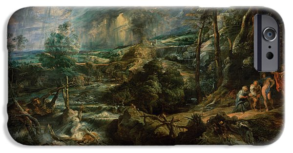 Zeus iPhone Cases - Landscape With Philemon And Baucis C.1625 Oil On Panel iPhone Case by Peter Paul Rubens