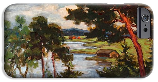 Landscape With Mountains iPhone Cases - Landscape With Pine Trees iPhone Case by Jalmari Ruokokoski