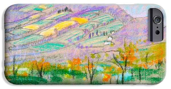Landscape With Mountains iPhone Cases - Landscape With Purple Mountains iPhone Case by Arthur B Davies