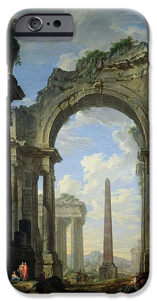 Overgrown iPhone Cases - Landscape with Ruins iPhone Case by Giovanni Niccolo Servandoni