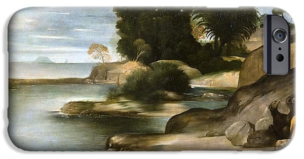 St John The Evangelist Paintings iPhone Cases - Landscape with St John the Evangelist iPhone Case by Juan Bautista Maino