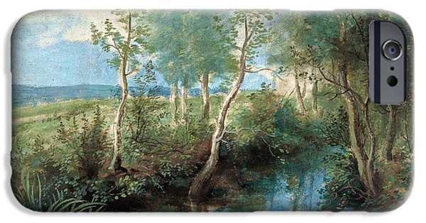 Overhang iPhone Cases - Landscape with stream overhung with trees iPhone Case by Peter Paul Rubens