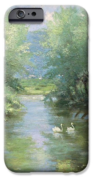 19th Century iPhone Cases - Landscape with swans iPhone Case by Guido Bertarelli