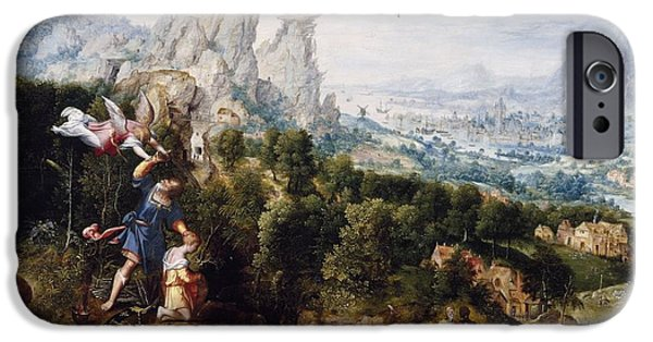 Old Testament iPhone Cases - Landscape With The Offering Of Isaac, C.1540 Oil On Panel iPhone Case by Herri met de Bles