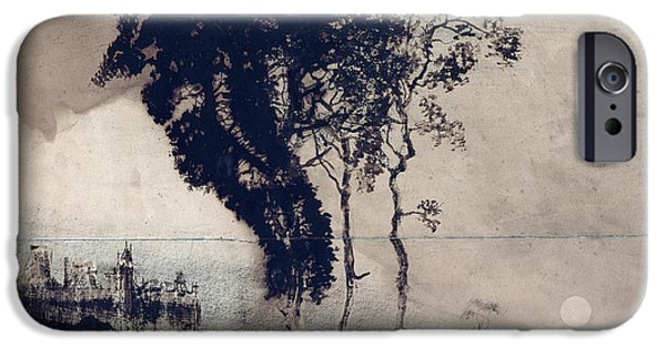 Landscape Posters iPhone Cases - Landscape with Three Trees iPhone Case by Victor Hugo