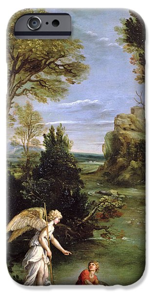 Raphael iPhone Cases - Landscape With Tobias Laying Hold Of The Fish, C.1615 Oil On Copper iPhone Case by Domenichino