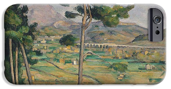 Landscape With Mountains iPhone Cases - Landscape with viaduct iPhone Case by Paul Cezanne