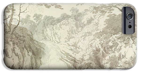 River View Drawings iPhone Cases - Landscape with Waterfall iPhone Case by Joseph Mallord William Turner