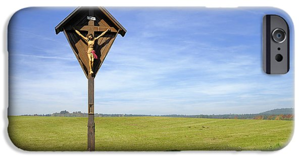 Wayside Cross iPhone Cases - Landscape with wayside crucifix iPhone Case by Matthias Hauser
