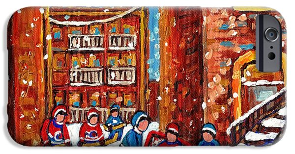 Snow Hockey Paintings iPhone Cases - Laneway Hockey Game Montreal Paintings Winter Fun In The City Carole Spandau iPhone Case by Carole Spandau