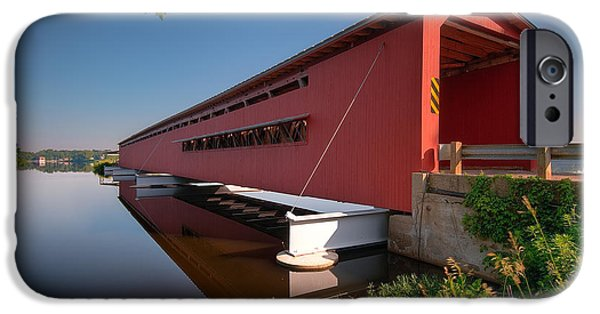 Covered Bridge iPhone Cases - Langley Covered Bridge Michigan iPhone Case by Steve Gadomski