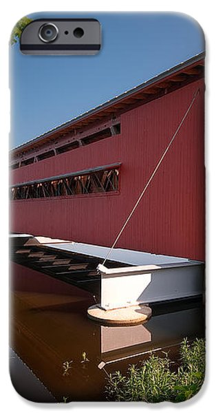 Langley Covered Bridge Michigan iPhone Case by Steve Gadomski