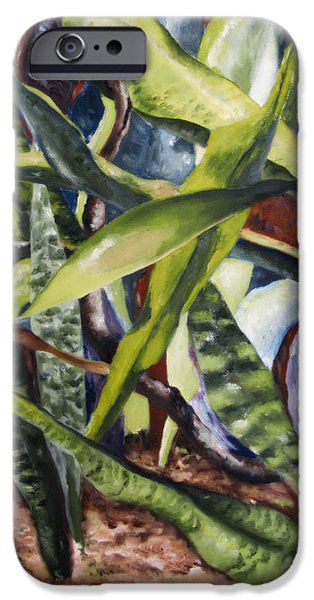 Park Scene Paintings iPhone Cases - Languid Cactii iPhone Case by Lisa Boyd