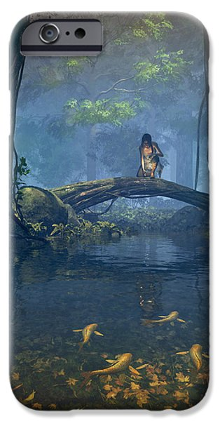 Forest Digital iPhone Cases - Lantern Bearer iPhone Case by Cynthia Decker