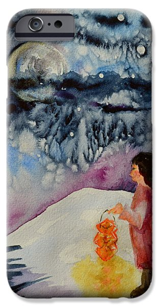 Snowy Night iPhone Cases - Lantern Festival iPhone Case by Beverley Harper Tinsley