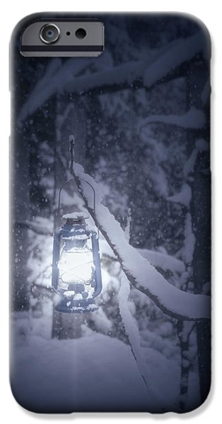 Snowy Evening iPhone Cases - Lantern In Snow iPhone Case by Joana Kruse