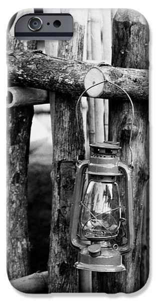 Bamboo Fence iPhone Cases - Lantern on fence iPhone Case by Jagdish Agarwal