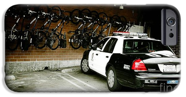 Police Officer iPhone Cases - LAPD cruiser and police bikes iPhone Case by Nina Prommer