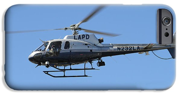 Flight Pyrography iPhone Cases - LAPD in flight iPhone Case by Shoal Hollingsworth