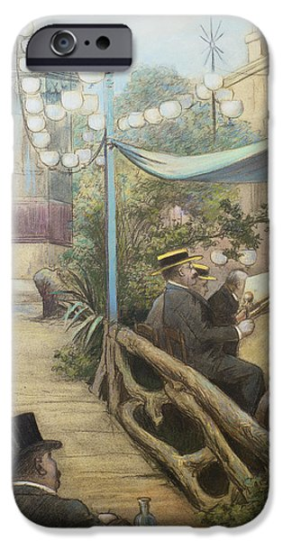 Boaters iPhone Cases - Laperitif Concert, Rue Dorsel iPhone Case by Charles Maurin
