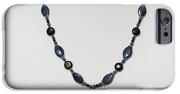 Little Jewelry iPhone Cases - Lapis Lazuli and Black Onyx Lariat Necklace 3675 iPhone Case by Teresa Mucha